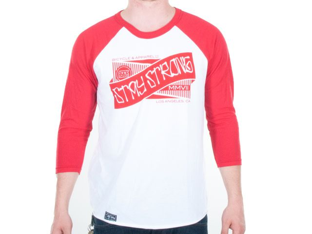 Stay Strong STAYSTRONG T-SHIRT RIBBON 3/4 SLEEVE WHT/RED