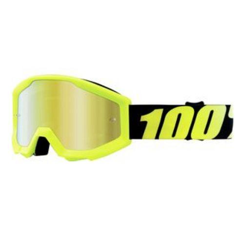 100% 100% Strata Jr Goggle Neon Yellow/Mirror Gold Lens