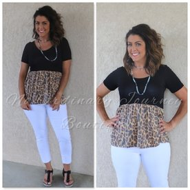 The Purfect Detailed Leopard Babydoll Top