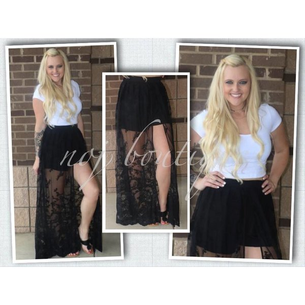 bf59e5750a6e High Time Lace Maxi Skorts - NOJ Boutique