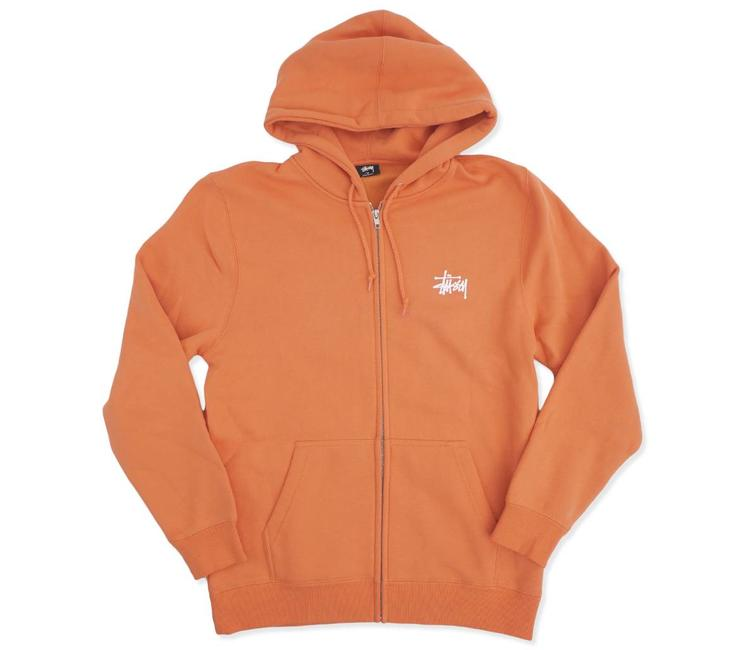 3a8efe25001 Stussy Basic Zip Hoodie - Rust
