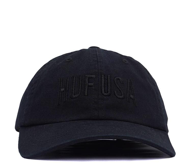 HUF Team Curved Visor 6-Panel Hat - Black  b5fe2b9f5704