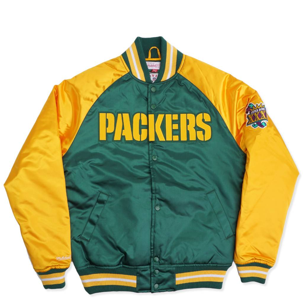 release date: 1af4b 7bb4c Mitchell & Ness Green Bay Packers Tough Season Satin Jacket - Green | MODA3