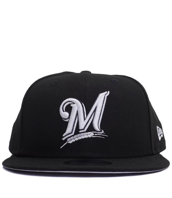 d70cb87df58 New Era Milwaukee Brewers Basic 9Fifty Snapback Hat - Black White ...