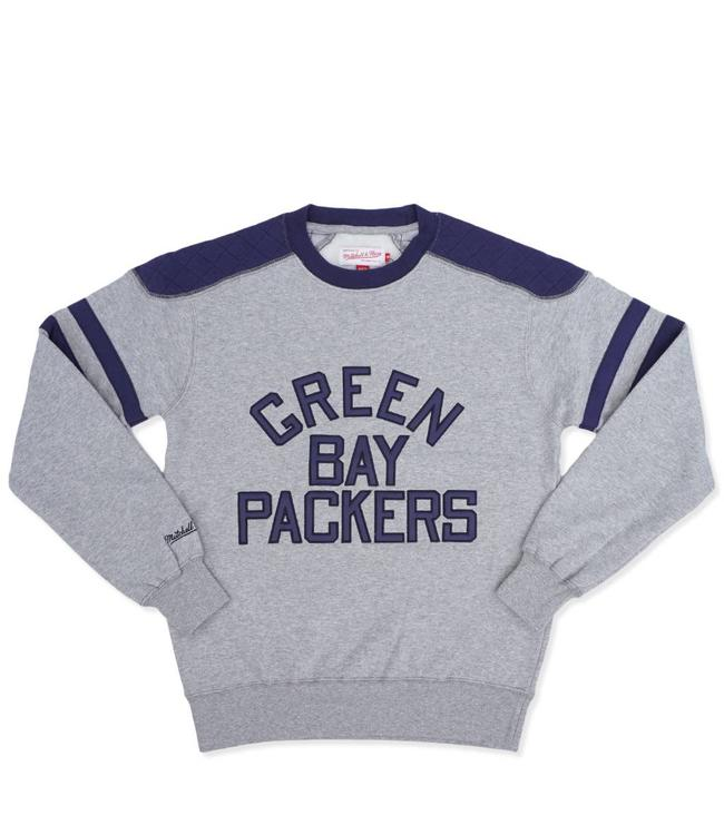 Mitchell   Ness Green Bay Packers Post Season Run Crewneck - Navy ... 41ec459ad