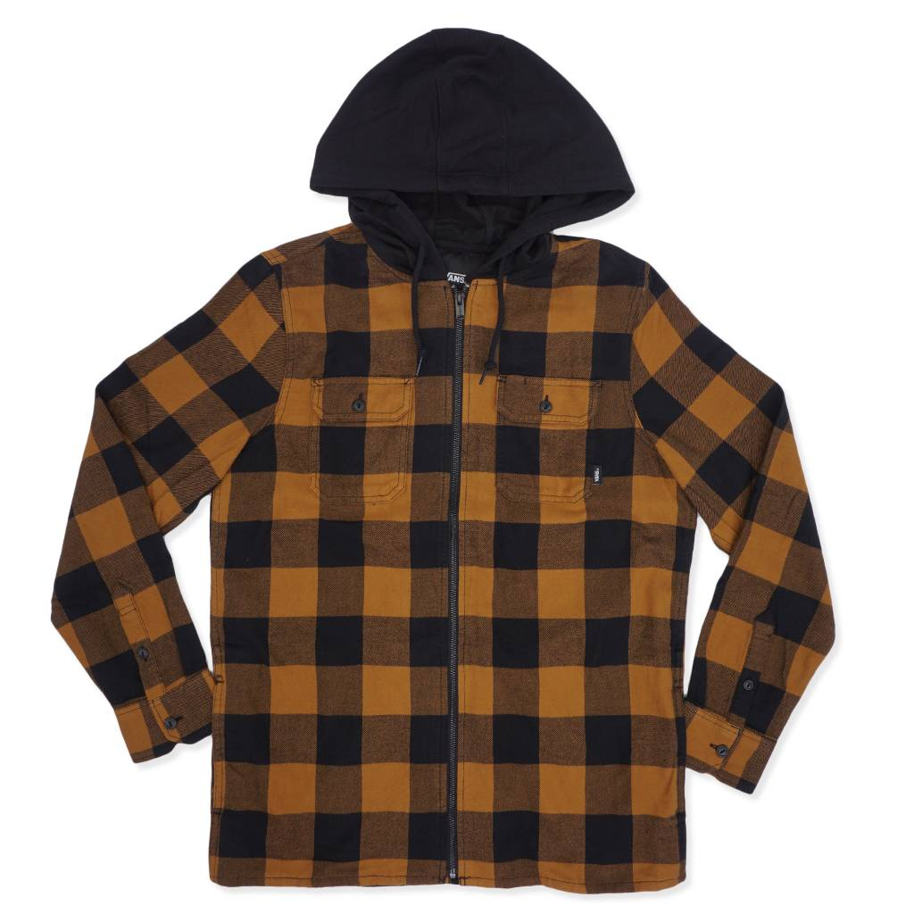 550e31bb47 ... vans kenton hooded flannel shirt black rubber vn0a3hvzbxh moda3 ...