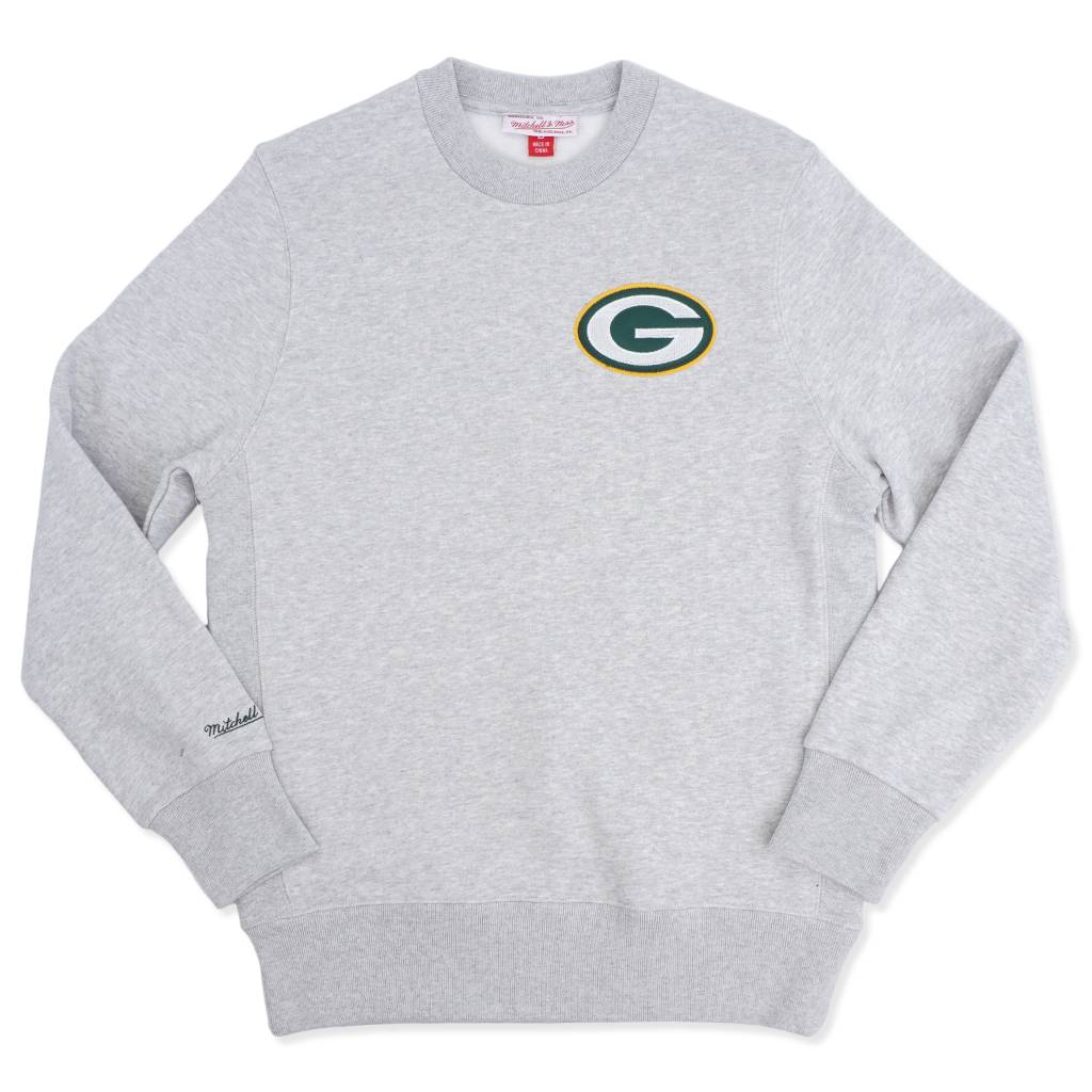 brand new cb44e 292b7 Mitchell & Ness Green Bay Packers Playoff Win Crew - Heather Grey