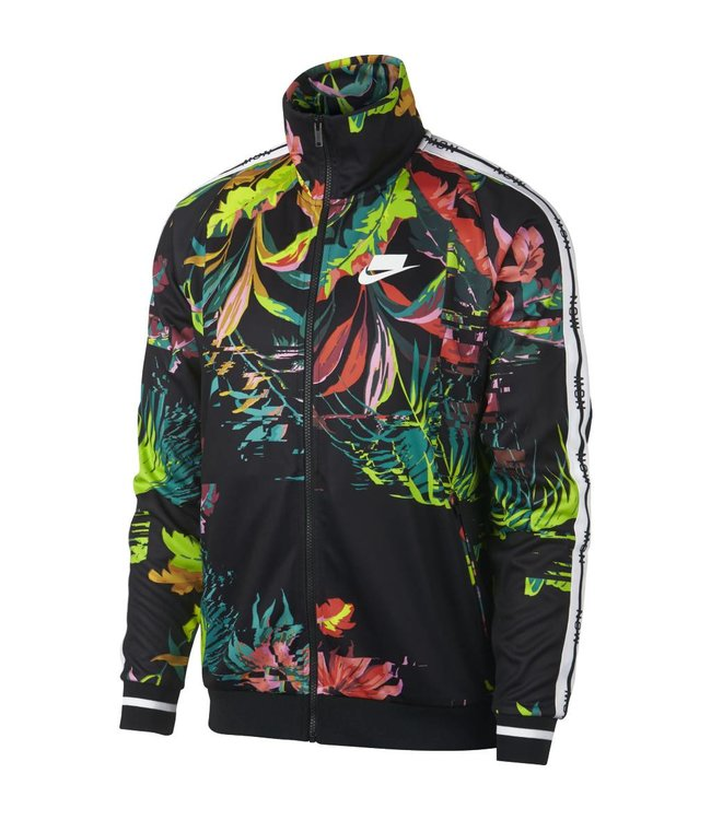 dbcf9e9f9ea8 Nike Palm Tree Loose Fit Track Jacket - Cyber Black White