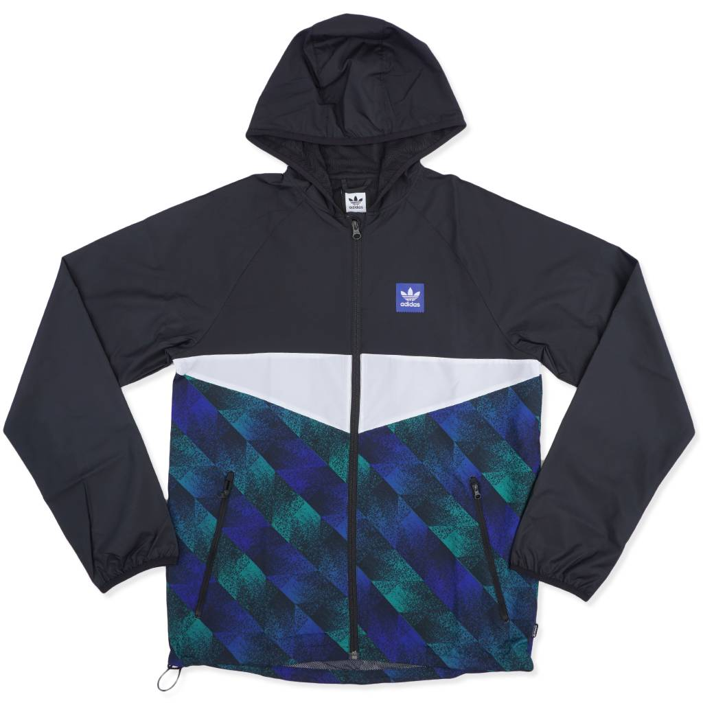 38b97ba4c Adidas Towning Packable Wind Jacket - Black/Blue/Green | DU8380