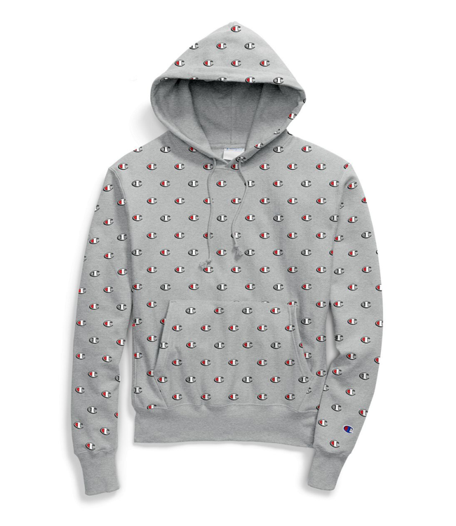 dd0bb3255f7f Champion Reverse Weave Allover Pullover Hoodie - Grey Scribble Logo ...