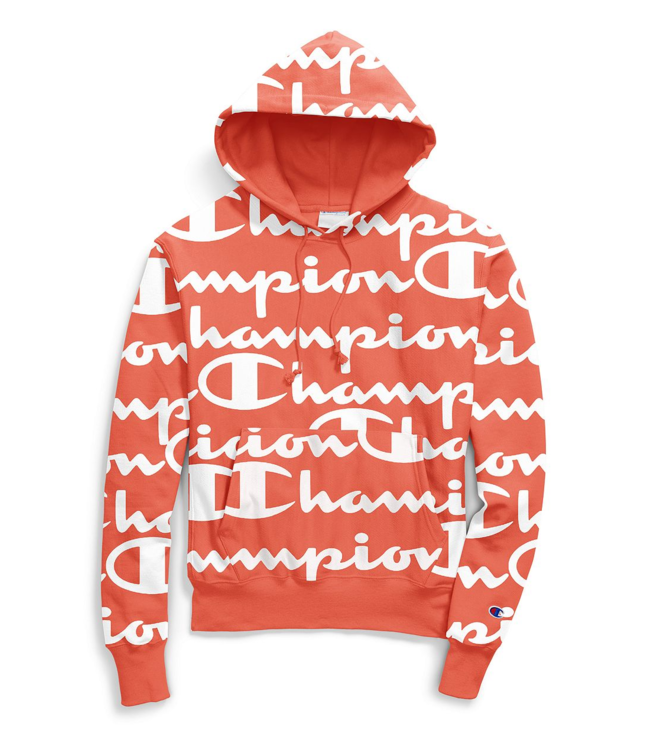 fde84c64f111 Champion Reverse Weave Allover Pullover Hoodie - Papaya Script Logo ...