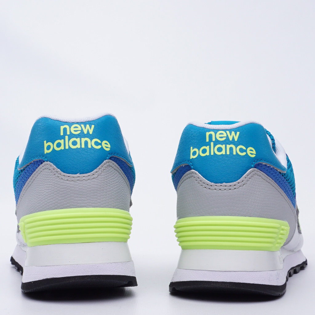 0b1743172106 New Balance 574 Shoes - Deep Ozone Blue with Bleached Lime - MODA3