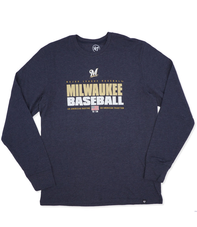 22d6c0a1 47 Brand Milwaukee Brewers Stacker Club Long Sleeve T-Shirt - Navy ...