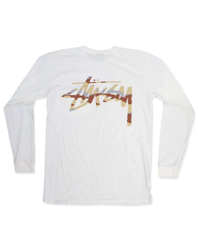 38832650 Stussy Camo Stock Pigment Long Sleeve Pocket T-Shirt - Natural - MODA3