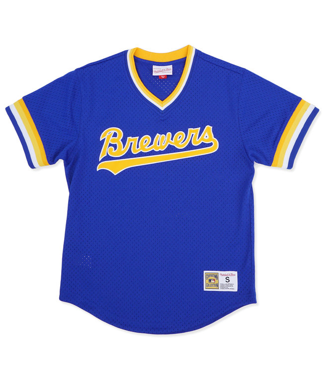 MITCHELL AND NESS Brewers Youth Mesh V-Neck Jersey