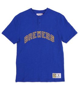 MITCHELL AND NESS BREWERS 2-BUTTON SLUB HENLEY SHIRT