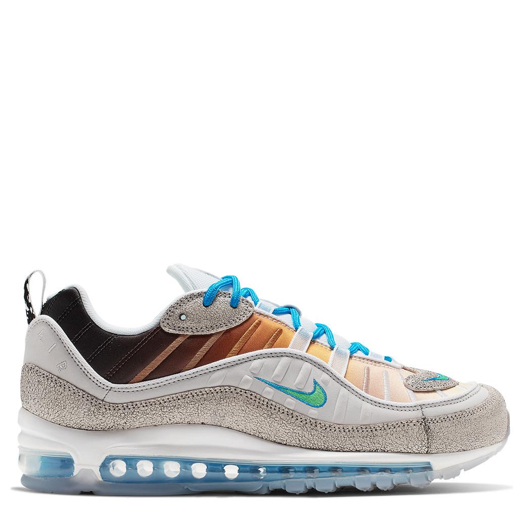 Nike Air Max 98 On Air GS Shoes Vast GreyElectro Green Blue Hero