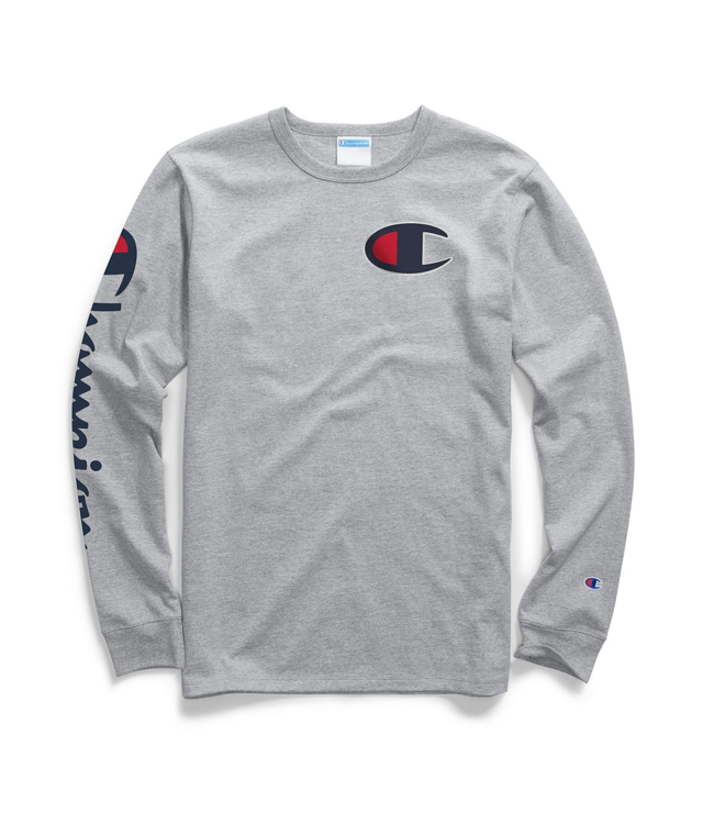 cb06e6c14d0f01 Champion Heritage Big C Long Sleeve T-Shirt - Oxford Grey - MODA3