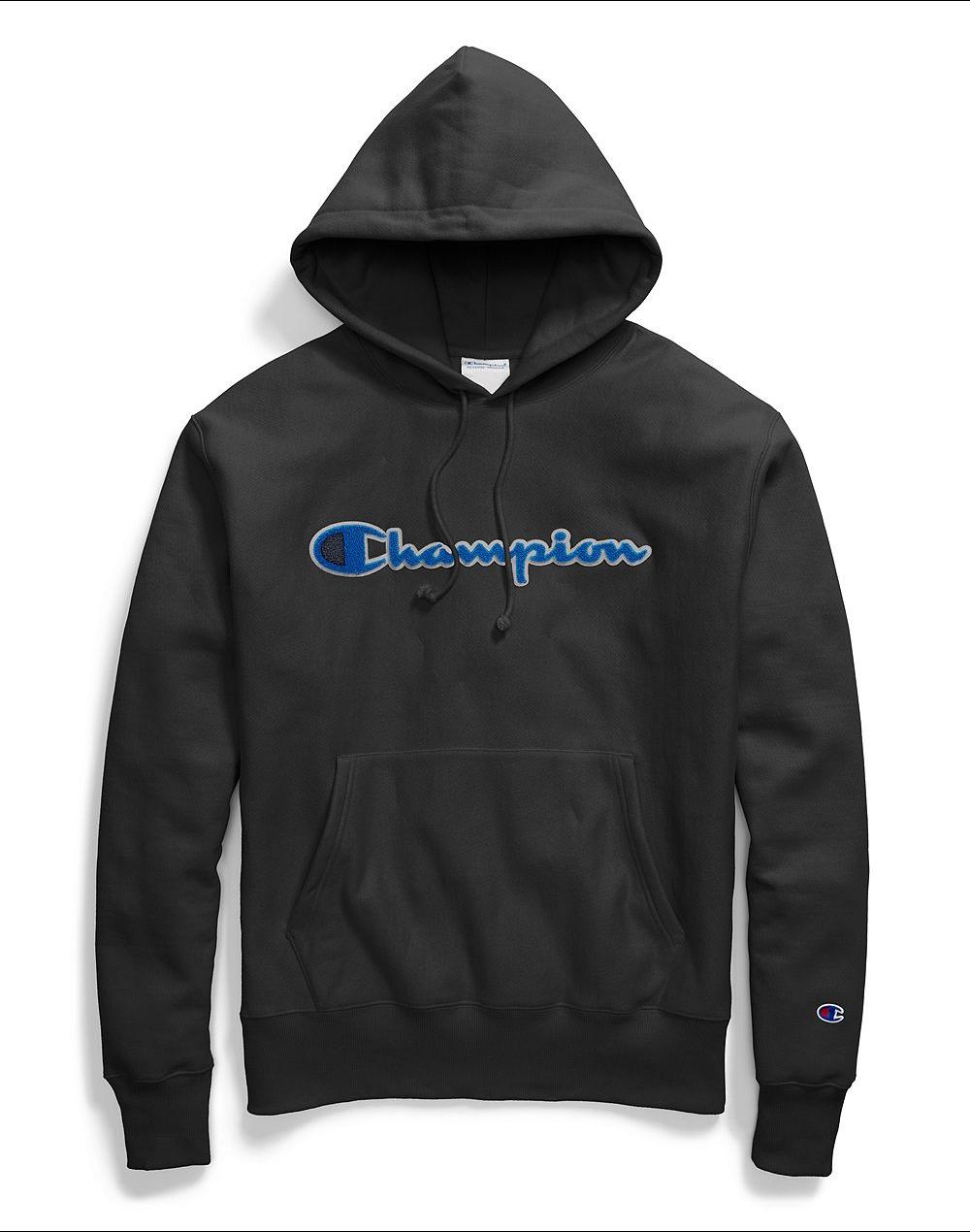 911eee7783a Champion Reverse Weave Chenille Logo Pullover Hoodie - Black - MODA3