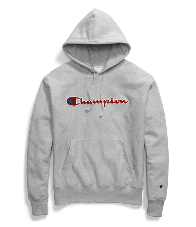 9409cfbcf55bb Champion Reverse Weave Chenille Logo Pullover Hoodie - Oxford Grey ...