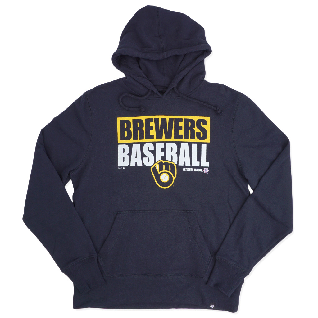 buy online cd7a1 9b454 '47 Brand Milwaukee Brewers Blockout Headline Hoodie - Navy