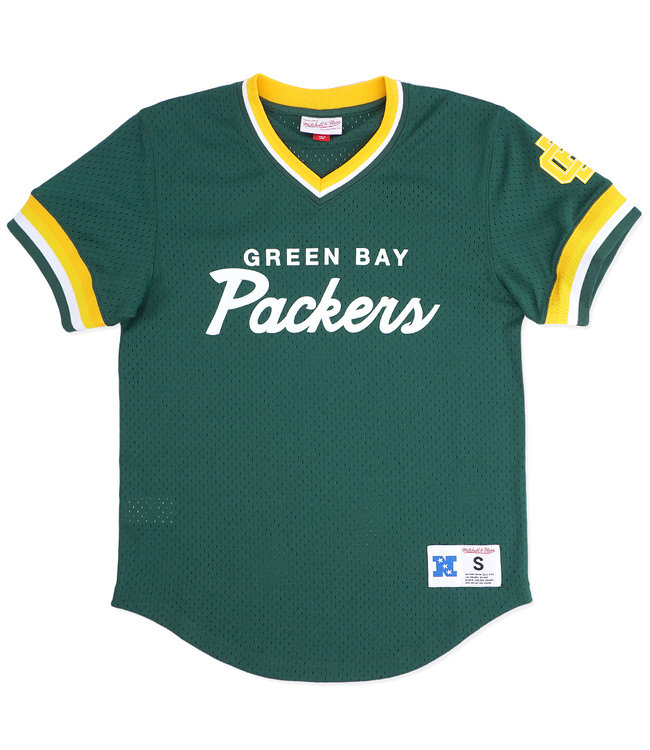 MITCHELL AND NESS Packers Script Mesh V-Neck