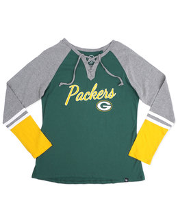 '47 BRAND PACKERS WOMENS FAST BREAK LACE UP TOP