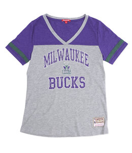 MITCHELL AND NESS BUCKS WOMENS TEAM CAPTAIN V-NECK