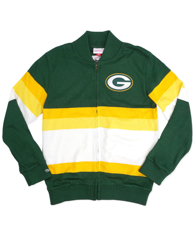 MITCHELL AND NESS Packers Front Stripe Zip Sweater