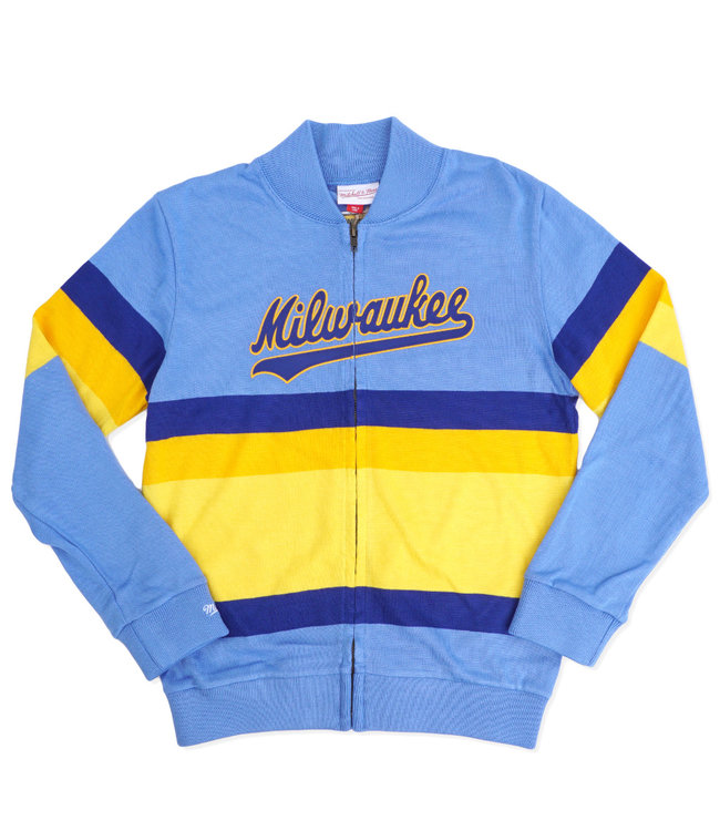 MITCHELL AND NESS Brewers Front Stripe Zip Sweater