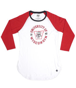 '47 BRAND BADGERS WOMENS KNOCKAROUND RAGLAN