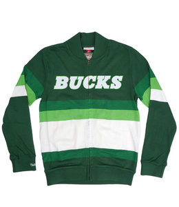 MITCHELL AND NESS BUCKS FRONT STRIPE ZIP SWEATER