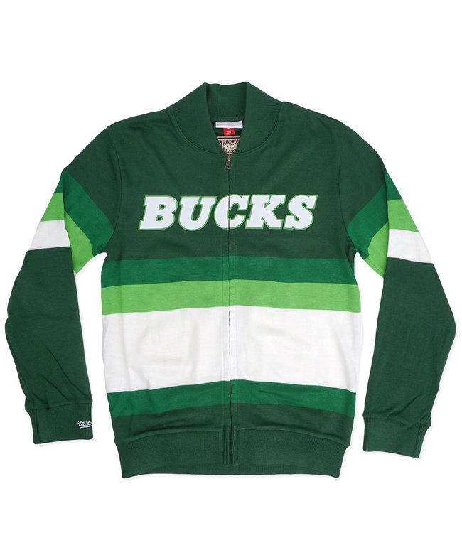 MITCHELL AND NESS Bucks Front Stripe Zip Sweater