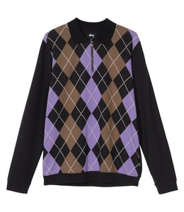 STUSSY ARGYLE ZIP LONG SLEEVE POLO SHIRT