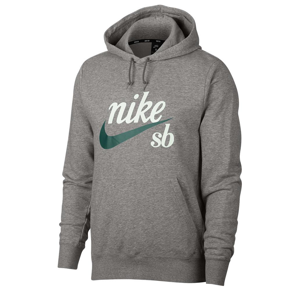 Nike SB Icon Pullover Hooded Sweatshirt Dark Heather GreyWhite