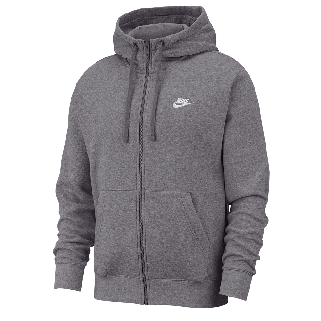 codici promozionali funzionario di vendita caldo super qualità Nike Club Full-Zip Hooded Sweatshirt - Charcoal | BV2645-071 - MODA3