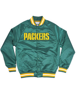 MITCHELL AND NESS PACKERS LIGHTWEIGHT SATIN JACKET