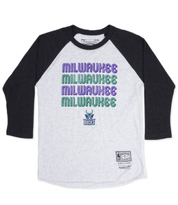 MITCHELL AND NESS BUCKS WOMENS MILWAUKEE RAGLAN