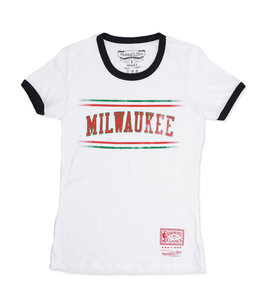 MITCHELL AND NESS BUCKS WOMENS RINGER TEE