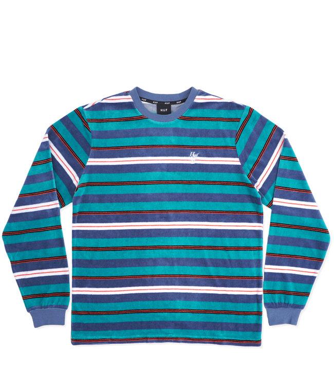 HUF Unveil Stripe Velour L/S Top
