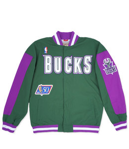 MITCHELL AND NESS BUCKS AUTHENTIC 96-97 WARM UP JACKET