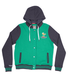 MITCHELL AND NESS BUCKS WOMENS HOODED VARSITY FLEECE JACKET