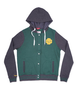 MITCHELL AND NESS PACKERS WOMENS HOODED VARSITY FLEECE JACKET