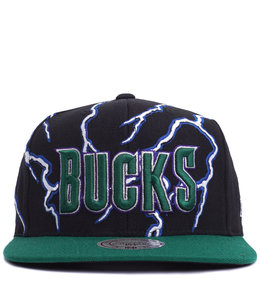 MITCHELL AND NESS BUCKS LIGHTNING SNAPBACK HAT