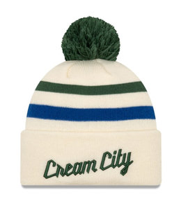 NEW ERA BUCKS CREAM CITY SERIES POM KNIT BEANIE
