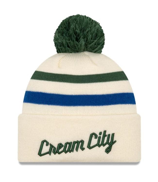 NEW ERA Bucks Cream City Series Pom Knit Beanie