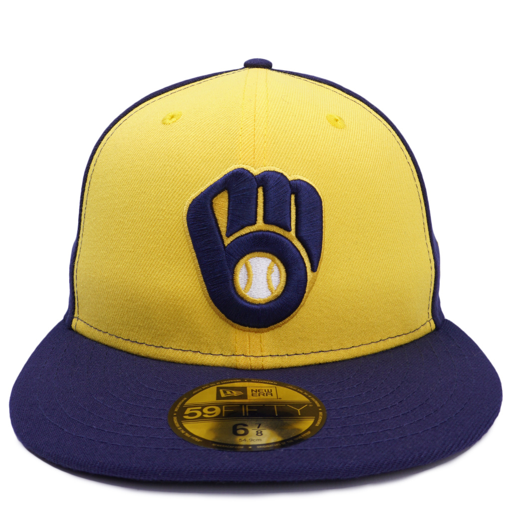 high quality genuine shoes on feet images of New Era Milwaukee Brewers Authentic 59Fifty Fitted Hat - Gold/Navy ...