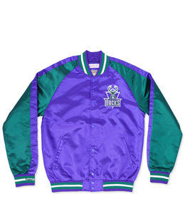 MITCHELL AND NESS BUCKS COLOR BLOCKED SATIN JACKET