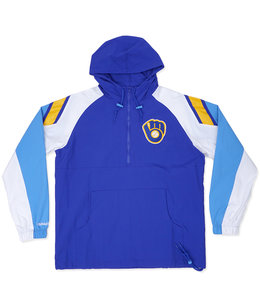 MITCHELL AND NESS BREWERS HALF-ZIP ANORAK JACKET