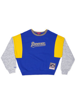 MITCHELL AND NESS BREWERS WOMENS COLORBLOCK CREW